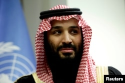 FILE - Saudi Arabia's Crown Prince Mohammed bin Salman Al Saud is shown during a meeting at U.N. headquarters in New York, March 27, 2018.