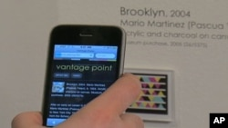 Using a smart phone with a camera and a special app, National Museum of the American Indian visitors can scan a smart tag graphic which takes them to links on the museum's site.