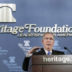 Senate Republican leader Mitch McConnell of Kentucky spoke at the Heritage Foundation in Washington
