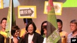 台灣民進黨主席蔡英文在華盛頓發表演講。