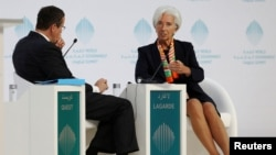 International Monetary Fund (IMF) Managing Director Christine Lagarde gestures during the World Government Summit in Dubai, United Arab Emirates, Feb. 12, 2017.
