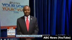 Dr. Ben Carson as he was being introduced at the Republican candidate debate on February 6, 2016.
