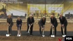 美國外交中心進行破土動工儀式(視頻截圖)