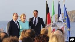 Маттео Ренци, Франсуа Олланд и Ангела Меркель