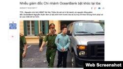 Bị cáo Hà Văn Thắm được đưa đến phiên tòa - Ảnh: TÂM LỤA (Ảnh chụp màn hình báo Tuổi Trẻ)