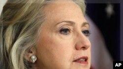 ລັດຖະມົນຕີການຕ່າງປະເທດສະຫະລັດ Hillary Rodham Clinton ຖະແຫລງກ່ຽວກັບຊີເຣຍ ທີ່ກະຊວງການຕ່າງປະເທດ, ວັນທີ 18 ສິງຫາ 2011, (AP Photo/Luis M. Alvarez)