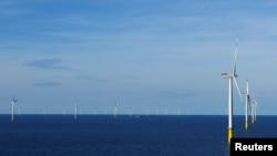 Vu général de la DanTysk, champ éolien, 90 kilomètres à l'ouest d'Esbjerg, Denmark, le 21 sept, 2016.
