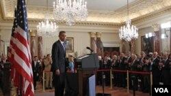 Presiden Obama saat menyampaikan pidato mengenai kebijakan AS di Timur Tengah, Kamis (19/5).