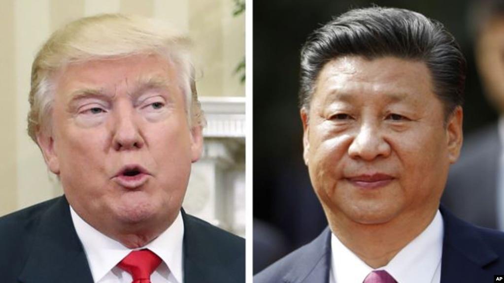 美國總統川普(左), 中國國家主席習近平