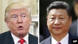 美國總統川普(左)和中國國家主席習近平(右)