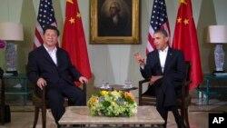 Tổng thống Barack Obama trong cuộc hội kiến với Chủ tịch Trung Quốc Tập Cận Bình tại khu nghỉ mát Sunnylands ở California, ngày 7/6/2013.