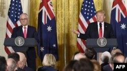 Lãnh đạo Mỹ và Úc trong cuộc họp báo chung.