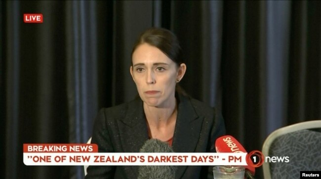 New Zealand's Prime Minister Jacinda Ardern speaks on live television following fatal shootings at two mosques in central Christchurch, New Zealand March 15, 2019, in this still image taken from video.