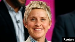 """Executive Producer Ellen DeGeneres speaks about the NBC television show """"One Big Happy"""" during the TCA presentations in Pasadena, California, Jan. 16, 2015."""