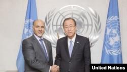 محمود صیقل، نماینده دایمی افغانستان در ملل متحد با بن کی مون، سر منشی ملل متحد