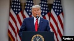 美國總統特朗普在白宮玫瑰園對媒體發表講話。 (11月13日)