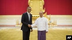 باراک اوباما رئیس جمهوری ایالات متحده در دیدار با رئیس جمهوری میانمار