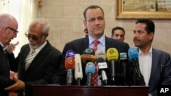 FILE - The U.N.'s special envoy to Yemen, Ismail Ould Cheikh Ahmed, speaks at a press conference in Sana'a, Jan. 10, 2016.