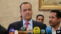 FILE - U.N. special envoy to Yemen, Ismail Ould Cheikh Ahmed speaks at a press conference in Sana'a, Yemen, Jan. 10, 2016.