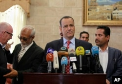 FILE - U.N. special envoy to Yemen, Ismail Ould Cheikh Ahmed speaks at a press conference in Sanaa, Yemen.