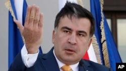 FILE - Georgian President Mikhail Saakashvili in Tbilisi, Georgia, June 27, 2013.