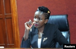 """Justice Wilfrida Okwany addresses a court session after she temporarily lifted a ban on """"Rafiki"""" - """"Friend"""" in Swahili, at the Mililani Law Courts in Nairobi, Kenya, Sept. 21, 2018."""