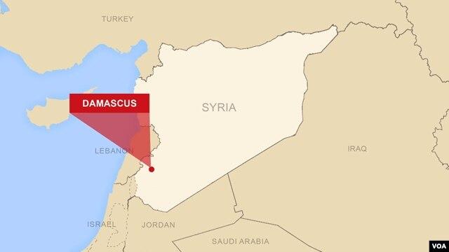 Bản đồ khu vực Damascus, Syria.