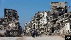 ဆီးရီးယားၿမိဳ႕ Homs ျမင္ကြင္း။ (ေဖေဖာ္ဝါရီ ၂၆၊ ၂၀၁၆)