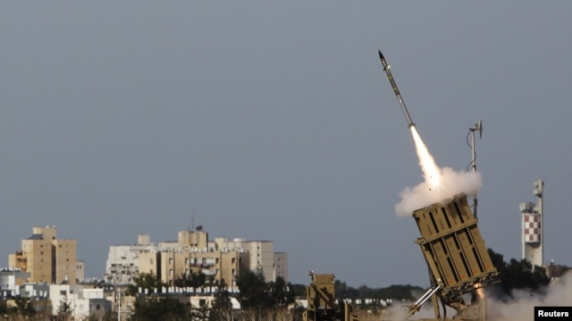 An Iron Dome launcher fires an interceptor rocket, Ashdod, Israel, November 16, 2012.