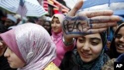 """نیو یارک میں نوجوان امریکی مسلم لڑکیاں """" آئی ایم مسلم """" ریلی میں"""