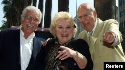 FILE - Actress Rose Marie, center, poses with co-stars Dick Van Dyke, left, and Carl Reiner during ceremonies to honor her with a star on the Hollywood Walk of Fame in Hollywood, Oct. 3, 2001.