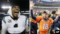 From left, Carolina Panthers' Cam Newton celebrates after the NFL football NFC Championship game in Charlotte, N.C., and Denver Broncos quarterback Peyton Manning waves to spectators following the NFL football AFC Championship in Denver, Jan. 24, 2016.