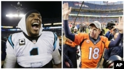 From left, Carolina Panthers' Cam Newton celebrates after the NFL football NFC Championship game against the Arizona Cardinals, in Charlotte, N.C., and Denver Broncos quarterback Peyton Manning waves to spectators following the NFL football AFC Championsh