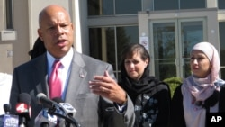 FILE - After meeting with police and Muslim communty representatives in Columbus, Ohio, Homeland Security Secretary Jeh Johnson talks about the need for vigilance against possible violent extremism in the United States, Sept. 24, 2014.
