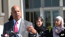 FILE - After meeting with police and Muslim community representatives in Columbus, Ohio, Homeland Security Secretary Jeh Johnson talks about the need for vigilance against possible violent extremism in the United States, Sept. 24, 2014.