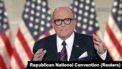 Rudy Giuliani ex presidente da câmara de Nova Iorque discursa na última noite da Convenção Republicana. 27 agosto, 2020