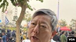 香港支聯會主席李卓人表示,中共對維吾爾族人的高科技監控,是人類社會前所未有的恐怖。(攝影: 美國之音湯惠芸)
