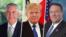 Tillerson (esq), Trump (cen) e Pompeo (dir)