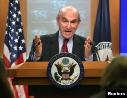 FILE - U.S. Special Representative for Venezuela, Elliott Abrams, briefs the media on the current situation in the country, at the Department of State in Washington, D.C., March 8, 2019.