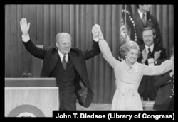 President Gerald Ford and First Lady Betty Ford celebrate winning the Republican nomination in 1976.