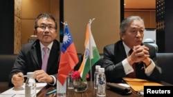台灣官員2019年9月20日在新德里舉行記者會(路透社)