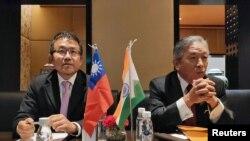 台湾官员2019年9月20日在新德里举行记者会(路透社)