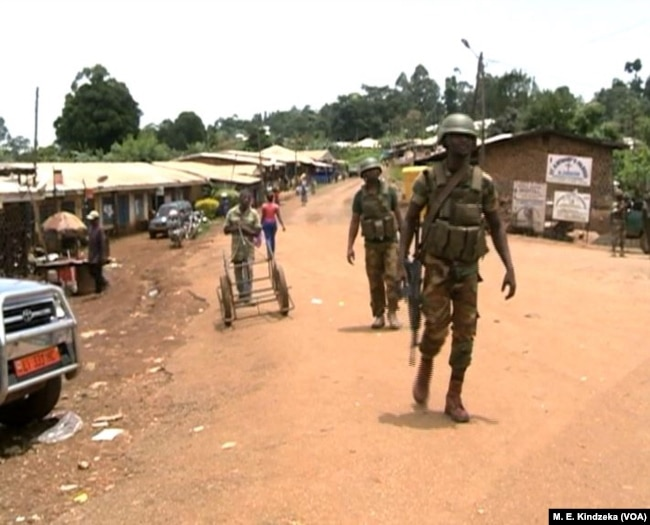 Military on the streets of Kom, northwestern Cameroon.