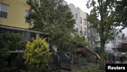 Сломанное дерево упало на жилой дом в Джерси-Сити, Нью-Джерси 29 октября 2012 года