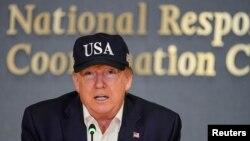 1일 연방재난관리청(FEMA)에서 연설하는 도널드 트럼프 미국 대통령.