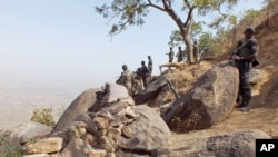 Ảnh tư liệu ngày 19/2/2015 cho thấy binh sĩ Cameroon đứng gác gần làng Mabass, Cameroon.