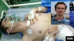 امید کوکبی پس از عمل جراحی و تخلیه یکی از کلیه هایش در بیمارستان