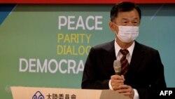 台湾陆委会新主委邱太三在交接仪式上致辞。(2021年2月23日)