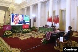 Presiden Jokowi diundang secara pribadi oleh Presiden Amerika Serikat Joe Biden dalam acara Global COVID-19 Summit bersama empat kepala negara lainnya. (Biro Pres)