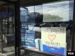 佛蒙特州参议员、民主党候选人桑德斯的竞选总部(美国之音龚小夏,平章拍摄)